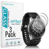 3-Pack HPTech Tempered Glass For Samsung Galaxy Watch 46mm, Gear S3 Classic, Gear S3 Frontier Smart Watch Screen Protector, Easy to Install, 9H Hardness, Bubble Free