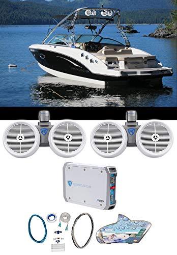 (2) Rockville Dual 8' 800w Wakeboard Tower Speakers+2-Channel Amplifier+Amp Kit