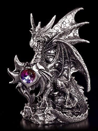 Drachen Figur silberfarben bewacht Kristall - Gothic Fantasy Deko Dragon