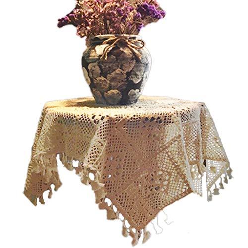 GR5AS Vintage American Häkelmuster Blume Spitze Runde Tischdecke Garten Stricken Hohl Kunst Tee Tischdecke Foto Hintergrund Tuch, Stoff, weiß, 140 * 220CM