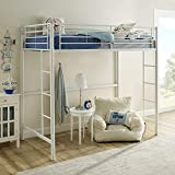 Walker Edison Modern Metal Pipe Twin Size Loft Kids Bunk Bed Bedroom, White