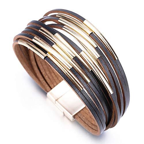 BRTTHYE leren armbanden voor dames, fluitje van metaal, meerdere rijen, brede armband voor dames, sieraden