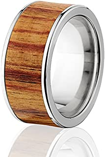 New Tulip Wood Rings, Exotic Hard Wood Wedding Band w/ Comfort Fit