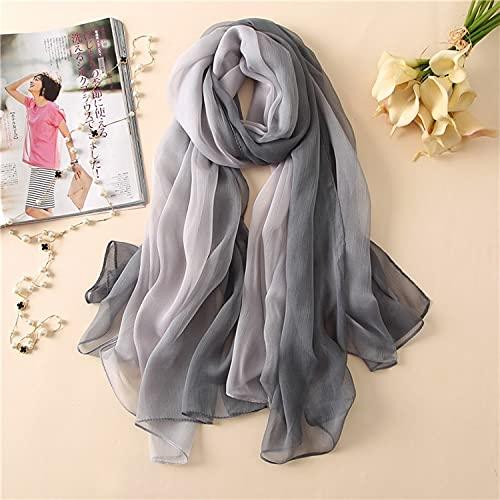 Vcnhln Bufanda de Seda de Color Degradado de Verano, mantón y mantón Suaves para Mujer en Turbante Turbante de Playa para Mujer