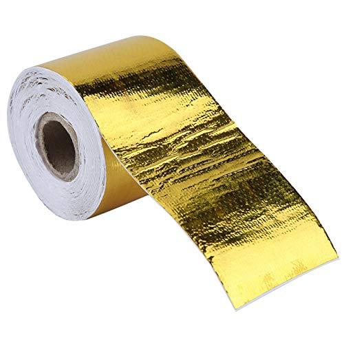 Cinta de Papel de Aluminio, Fydun 1 Rollo Coche Dorado Adhesivo Cinta de Envoltura Escudo térmico Reflectante para Aislamiento de tuberías de conductos de HVAC(Gold 10M*5Cm)