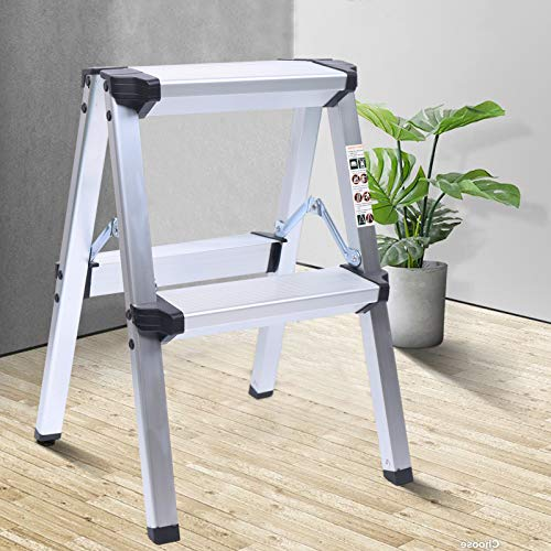 2 Step Aluminum Lightweight Ladder Folding Non-Slip Platform Stool 330Lbs Load for Household,Lightweight Folding Small Ladder Supports,Double-Sided Ladder