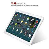 Kivors 3G Touch Tablet 9.6 Inch - Android 5.1-1G RAM + 16GB ROM - 800 x 1280 HD - Dual SIM Card Slots - Dual Camera - WiFi for Kids Adults (9.6 inch, Silver)