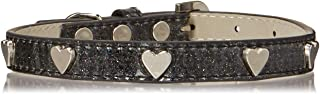 Mirage Pet Products 633-14 BK16 Heart Widget Dog Collar, Size 16, Black/Silver