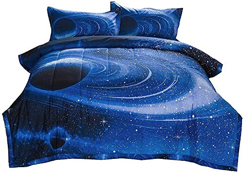 Meesovs Bedding 3D Digital Printing Beautiful star ring beside the planetSuper King(260 X 230 cm) 3 Pieces (1 Duvet Cover + 2 Pillow Shams) boy girl Kids Bedding Printed + 2 pillowcases (50 x 75 Cm)