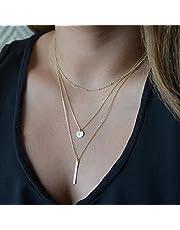 FXmimior Multilayer Ketting Goud Metalen Pailletten Gelaagde Choker Goud Lange Ketting Verklaring Accessoires voor Vrouwen Meisje