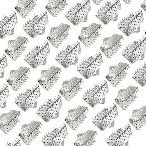 TOAOB 100 Piezas Tono Plateado 10 mm Rectangulare Extremos de Cinta de Hierro de Engarzado Sujetador de Clip para Fabricación de Joyas