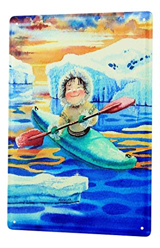 LEotiE SINCE 2004 H. L. Koehler Blechschild Wand Küchen Deko Eskimo Kajak Metallschild 20X30 cm