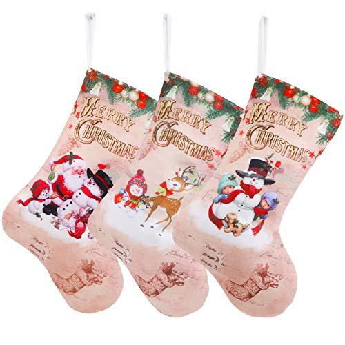 QKURT - Set di 3 calze natalizie, 30,5 cm, Babbo Natale, pupazzo di neve/renna, classici personaggi di Natale, ornamento per feste, regali