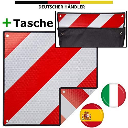 MATADORES Premium 2in1 Warntafel für Italien UND Spanien inkl. GRATIS Tasche | Aluminium, 50x50cm, reflektierend | Für Fahrradträger/Heckträger