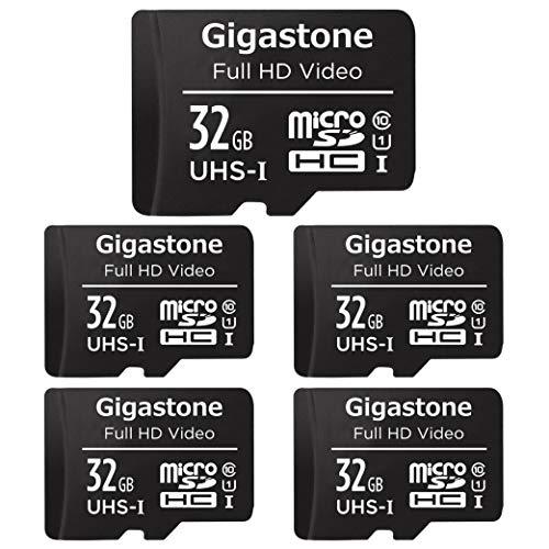 Gigastone 32GB Tarjeta de Memoria Micro SD, Paquete de 5, Video Full HD, Cámara de Vigilancia y Seguridad, Cámara de Acción, Drone, 90MB/s Micro SDHC UHS-I U1 C10 Clase 10