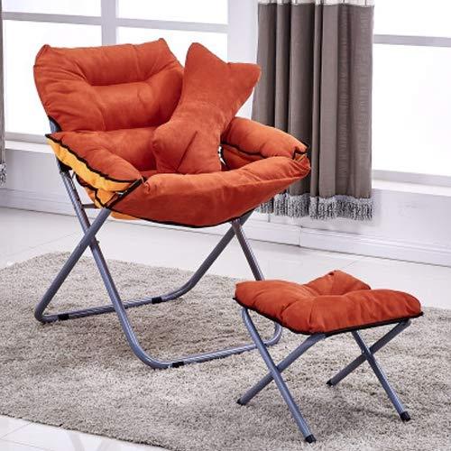 Hmg Creative Lazy Sofá Plegable Sala de Estar Sofá Individual Silla Tatami Lounge Chair con reposapiés/Almohada (café) (Color : Orange)
