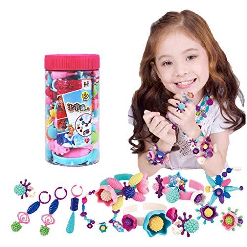 1 juego Juego de joyería que hace granos coloridos Artes y Oficios Juguetes de cuerda pulsera del collar de la gota y el anillo del sistema del juguete La creatividad de bricolaje para niñas, niños