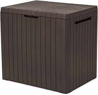 Keter City 30 Gallon Resin Deck Box for Patio Furniture, Pool Accessories, and Storage for Outdoor Toys, Brown
