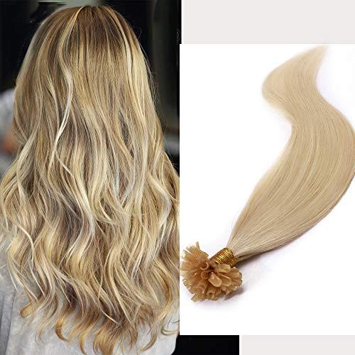 Extension Capelli Veri Cheratina 100 Ciocche 40cm #60 Biondo Platino 50g set 100% Remy Human Hair Naturali U Tip Keratin Lisci