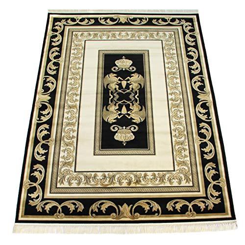 Belle Arti Möbel & Accessoires Luxuriöser Teppich (Schwarz/Gold) Mäander Kunstseide Medusa Carpet versac (100 x 140 cm, Black)