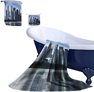 Leigh home Bath Towel Set,CBD, a Commercial Center for Urban Buildings and high Buildings Natural Cotton Comfortable Super Soft Luxury (3 Towels)