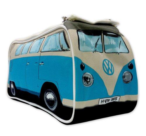 VW Bulli Kulturbeutel blau mit Innenfächern - robuste Kosmetiktasche, Waschbeutel, Kulturtasche, Washbag (31 x 15 x 11 cm)