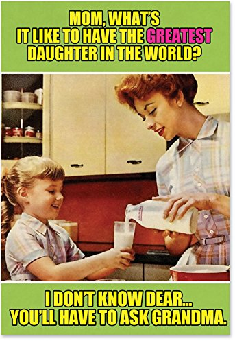Ask Grandma - Retro Happy Mother's Day Note Card with Envelope (4.63 x 6.75 Inch) - Sweet Family Discussion, Funny Mothers Day Card from Daughters - Vintage Stationery Greeting Notecard 0222