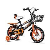 bicicleta Bicicletta for Bambini Passeggino Smorzamento Mountain Bike Ragazzo Ragazza Guida su Strada Apprendimento in bicicletta (Color : Orange, Size : 12inches)