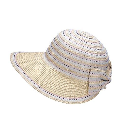 Miuno Miuno® Damen Sonnenhut Elegant Partyhut Faltbare Kappen Sonnen Schutzen (H51306-2(Beige))