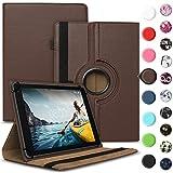 Tablet Hülle kompatibel für Medion Lifetab E6912 Tasche Schutzhülle Hülle Cover aus Kunstleder Standfunktion 360° Drehbar, Farben:Braun