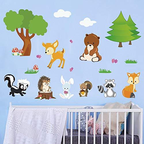 decalmile Pegatinas de Pared Animales del Bosque Vinilos Decorativos Arbol Infantil Zorro Oso Niños Guardería Dormitorio Salón Adhesivos Pared
