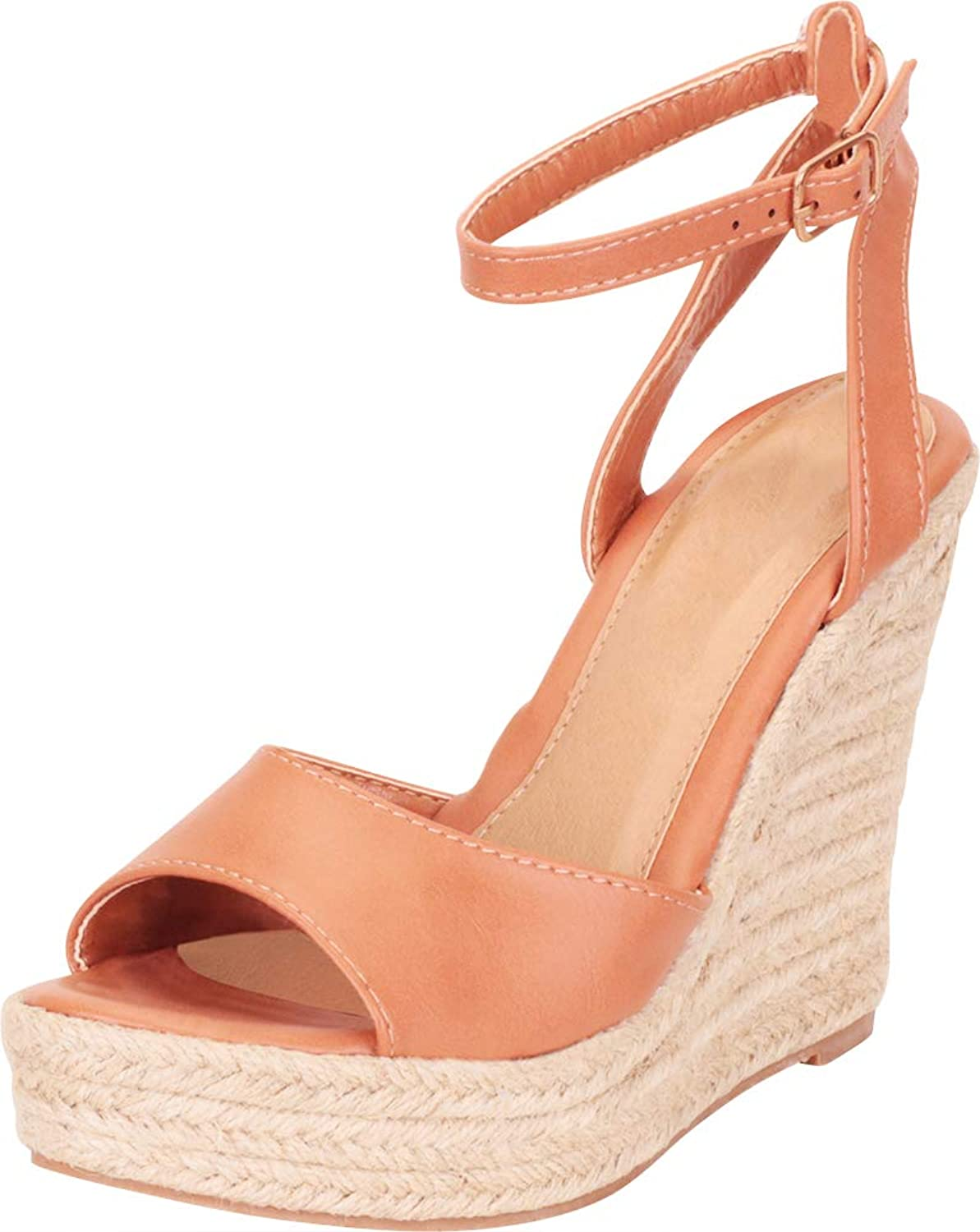 Cambridge Select Women's Ankle Strap Chunky Espadrille Platform High Wedge Sandal