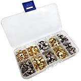 YuChiSX 500 piezas Encuadernadores de Metal en Color Dorado Adornos de Sujetadores de Papel de Varios Tamaños Mini Brads Sujetadores de Papel Redondos para Scrapbooking Manualidades Papel DIY