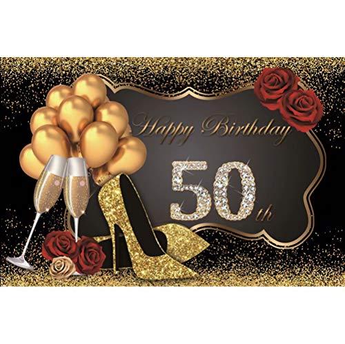 Leowefowa 3x1,8m Polyester Foto achtergrond 50e verjaardag Dames Gouden hakken Glitter pailletten Ballon Fotografie achtergronden voor Fotoshoot Fotostudio Props Partij Pasgeboren Fotocabine