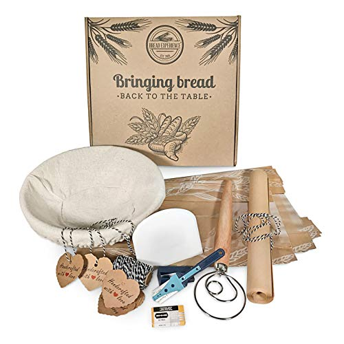 Artisan Home Bread Making Kit - 9 Inch Round Banneton Bread Proofing Basket Cloth Liner, Lame Bread Tool+10 Blades, Bowl Scraper Dough Whisk Bread Bags Kraft Tags, B/W Bakers Twine Gift Box eBook