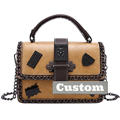RXDZ Bolso organizador de nombre personalizado de cuero genuino Crossbody bolsa de viaje cruzada para mujer (color amarillo, tamaño: talla única)
