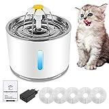 Boadw Aerb Fuente de Agua para Gatos 2.4L, Dispensador de Agua Automática para Mascotas con 5 Filtros de Carbón Activado, con LUZ en Noche y Silencioso Altamente