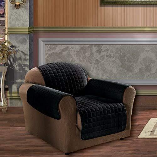 Elegance Bettwäsche Gesteppt Pet Hund Kinder Kids Möbelschutz Mikrofaser Slip Cover Stuhl, schwarz