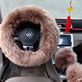 Ogrmar Winter Warm Faux Wool Steering Wheel Cover with Handbrake Cover & Gear Shift Cover for 14.96' X 14.96' Steeling Wheel in Diameter 1 Set 3 Pcs (Cameo Brown)