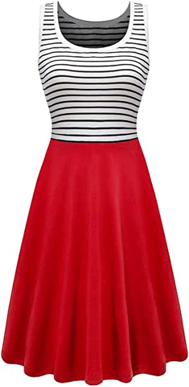 Women's Cold Shoulder Vest Dresses, Fashion Women Cold Shoulder Summer Casual Stripe Loose Sleeveless Vest Dress