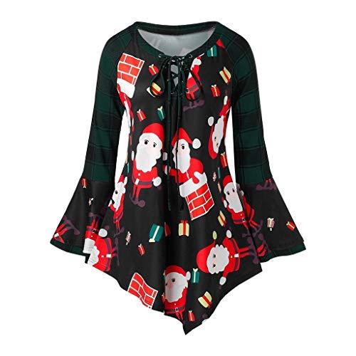 Blusa de manga larga para mujer, diseño de Papá Noel verde M