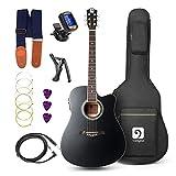 vangoa chitarra acustica elettrica 4/4, equalizzatore a 4 bande cutaway 41 pollici chitarra elettroacustiche chitarre per principianti con kit di avvio, nero