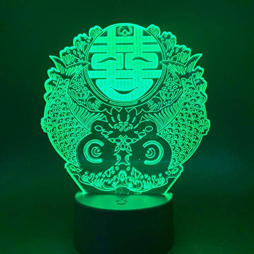 Sanzangtang Led-nachtlampje, 3D-visionzeven, kleuren-afstandsbediening, nachtlampje, hibiscus nachtlampje voor verliefde nachtlampje
