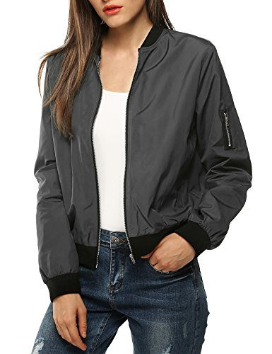 Zeagoo Womens Classic Quilted Jacket Short Bomber Jacket Coat, Grey, Medium