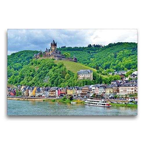 Premium Textil-Leinwand 75 x 50 cm Quer-Format Burg Cochem an der Mosel   Wandbild, HD-Bild auf Keilrahmen, Fertigbild auf hochwertigem Vlies, Leinwanddruck von Jutta Heußlein