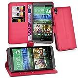 Cadorabo Hülle für HTC Desire 820 - Hülle in Karmin ROT – Handyhülle mit Kartenfach & Standfunktion - Case Cover Schutzhülle Etui Tasche Book Klapp Style