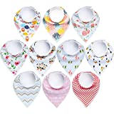 10-Pack Baby Bandana Bibs Upsimples Baby Girl Bibs for Drooling and Teething, Super Absorbent Bibs Baby Shower Gift - Floral Set