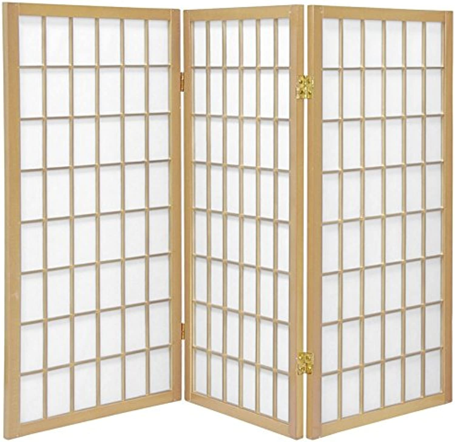 Oriental Furniture Low Minature Little, 3-Feet Window Pane Small Shoji Privacy Screen Room Divider, 3 Panel Natural