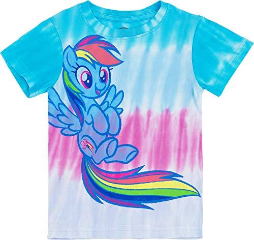 My Little Pony Girls Tie Dye T-Shirt - Rainbow Dash, Pinkie Pie, Twilight Sparkle, Apple Jack (5/6-Medium, Rainbow Dash)