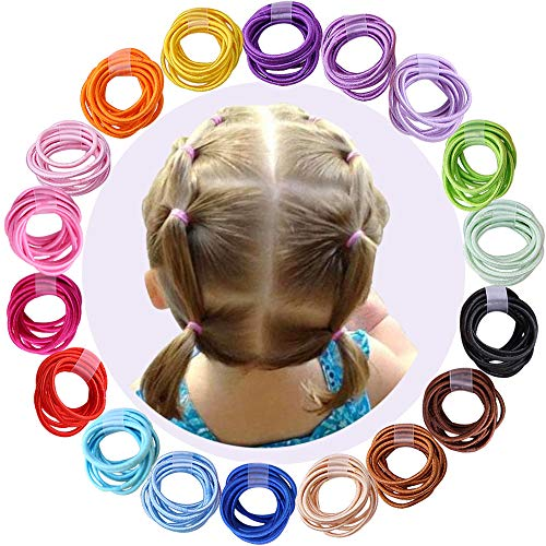 180pcs 2mm Mix Colors Baby Elastic Hair Ties Finger Hair Ties Hair Bands Holders Headband Hair Accessories for Baby Girls Infants Toddlers